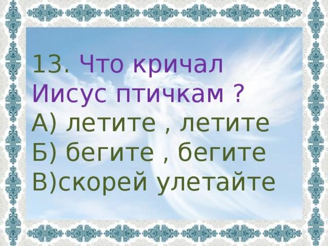 13. Что кричал Иисус птичкам ? А) летите , летите Б) бегите , бегите В)скорей улетайте