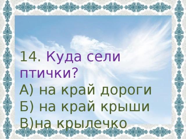 14. Куда сели птички? А) на край дороги Б) на край крыши В)на крылечко