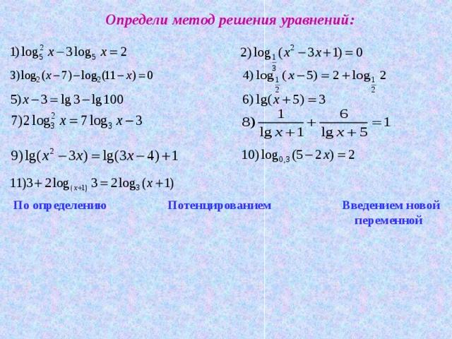 Определи метод решения уравнений: По определению  Потенцированием   Введением новой        переменной