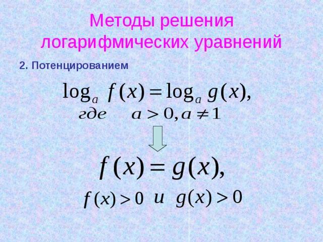 Методы решения логарифмических уравнений 2. Потенцированием