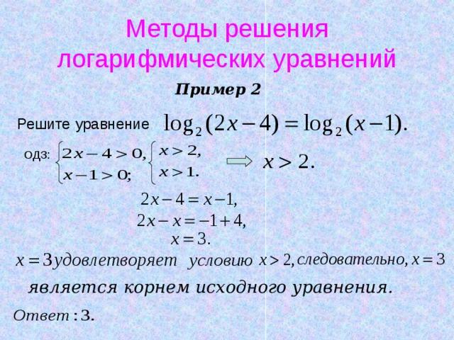Методы решения логарифмических уравнений Пример 2 Решите  уравнение  является корнем исходного уравнения.