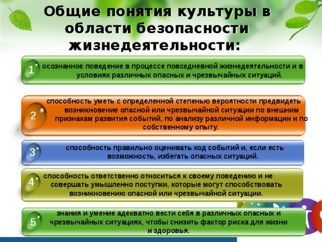 Общие понятия культуры в области безопасности жизнедеятельности: осознанное поведение в процессе повседневной жизнедеятельности и в условиях различных опасных и чрезвычайных ситуаций. 1 способность уметь с определенной степенью вероятности предвидеть возникновение опасной или чрезвычайной ситуации по внешним признакам развития событий, по анализу различной информации и по собственному опыту. 2 способность правильно оценивать ход событий и, если есть возможность, избегать опасных ситуаций. 3 способность ответственно относиться к своему поведению и не совершать умышленно поступки, которые могут способствовать возникновению опасной или чрезвычайной ситуации. 4 знания и умение адекватно вести себя в различных опасных и чрезвычайных ситуациях, чтобы снизить фактор риска для жизни и здоровья. 5