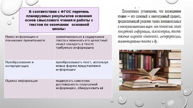 В соответствии с ФГОС перечень планируемых результатов освоения основ смыслового чтения и работы с текстом по окончании основной школы: