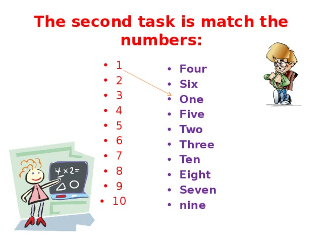 The second task is match the numbers: