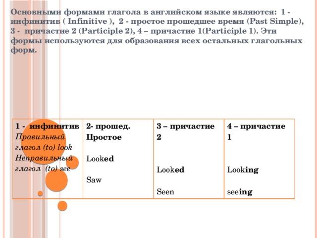 Основными формами глагола в английском языке являются: 1 - инфинитив ( Infinitive ), 2 - простое прошедшее время (Past Simple), 3 - причастие 2 (Participle 2), 4 – причастие 1(Participle 1). Эти формы используются для образования всех остальных глагольных форм. 1 - инфинитив Правильный глагол (to) look 2- прошед. Простое Неправильный глагол (to) see 3 – причастие 2  4 – причастие 1 Look ed    Look ed Saw   Look ing  Seen see ing