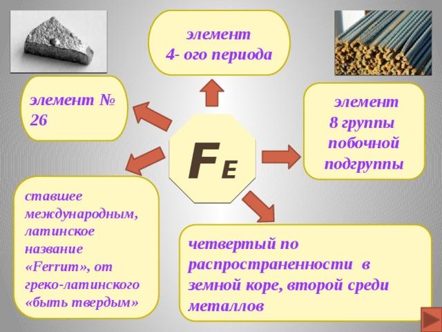 элемент 4- ого периода элемент № 26  элемент 8 группы побочной подгруппы F е ставшее международным, латинское название «Ferrum», от греко-латинского «быть твердым» четвертый по распространенности в земной коре, второй среди металлов