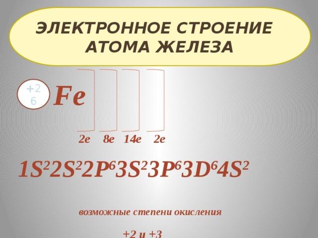 Электронное строение атома железа Fe + 26  2е 8е 14е 2е 1S 2 2S 2 2P 6 3S 2 3P 6 3D 6 4S 2  возможные степени окисления +2 и +3