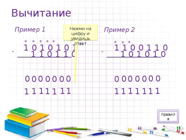 Вычитание Пример 1 Пример 2 Нажми на цифру и увидишь ответ * * * * * * * * 1010101 1100110 - - 101010 110110 0 0 0 0 0 0 0 0 0 0 0 0 0 0 1 1 1 1 1 1 1 1 1 1 1 1 1 1 правила
