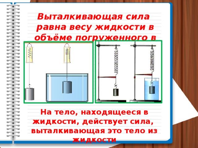 Выталкивающая сила равна весу жидкости в объёме погруженного в него тела.  На тело, находящееся в жидкости, действует сила, выталкивающая это тело из жидкости