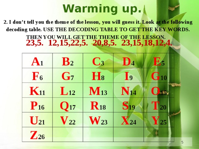 Warming up. 2. I don't tell you the theme of the lesson, you will guess it. Look at the following decoding table. USE THE DECODING TABLE TO GET THE KEY WORDS. THEN YOU WILL GET THE THEME OF THE LESSON.     23,5. 12,15,22,5. 20,8,5. 23,15,18,12,4. A 1 B 2 F 6 K 11 C 3 G 7 L 12 D 4 H 8 P 16 U 21 Q 17 M 13 I 9 E 5 N 14 V 22 Z 26 G 10 R 18 O 15 S 19  W 23 X 24  T 20 Y 25