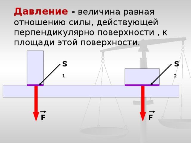 Давление - величина равная отношению силы, действующей перпендикулярно поверхности , к площади этой поверхности. S 1 S 2 F F