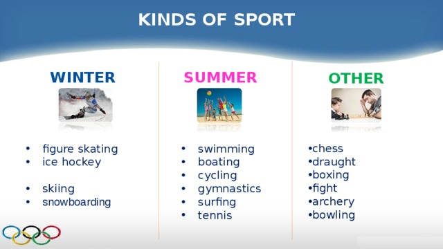 KINDS OF SPORT SUMMER WINTER OTHER chess  draught boxing   fight  archery bowling    swimming   boating   cycling   gymnastics  surfing  tennis   figure skating ice hockey   skiing snowboarding
