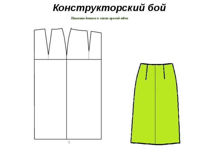 Конструкторский бой  Назовите детали и линии прямой юбки