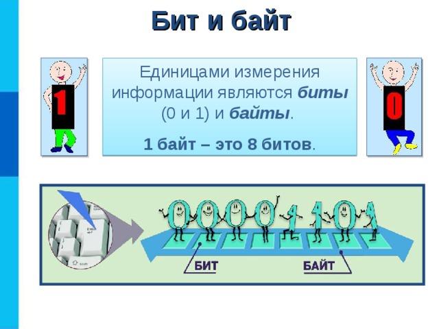 Бит и байт Единицами измерения информации являются биты (0 и 1) и байты . 1 байт – это 8 битов .