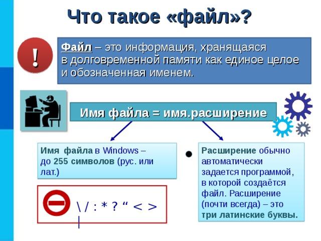 """Что такое «файл»? ! Файл  – это информация, хранящаяся  в долговременной памяти как единое целое и обозначенная именем. Имя файла = имя.расширение Расширение  обычно автоматически задается программой,  в которой создаётся файл. Расширение (почти всегда) – это три латинские буквы. Имя  файла  в Windows –  до 255 символов (рус. или лат.) \ / : * ? """"    """