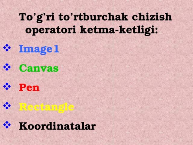 To'g'ri to'rtburchak chizish operatori ketma-ketligi: