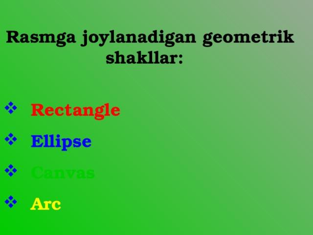 Rasmga joylanadigan geometrik shakllar: