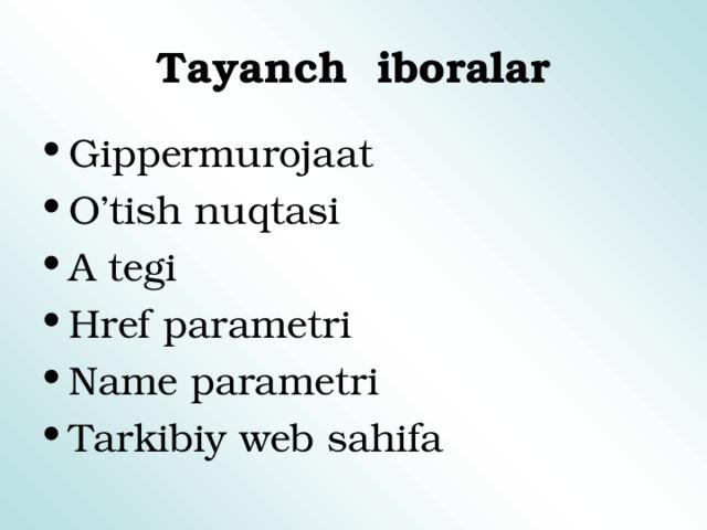 Tayanch iboralar