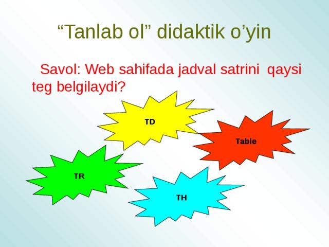 """"""" Tanlab ol"""" didaktik o'yin  Savol: Web sahifada jadval satrini qaysi teg belgilaydi? TD Table TR TH"""