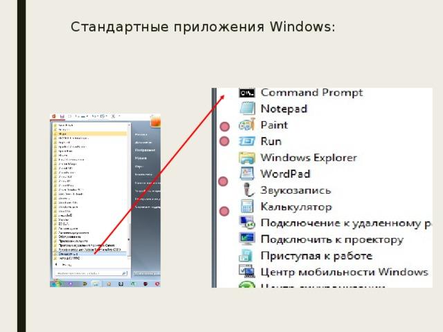 Стандартные приложения Windows: