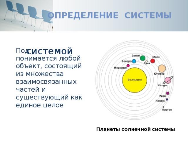 Определение системы системой Под понимается любой объект, состоящий из множества взаимосвязанных частей и существующий как единое целое Планеты солнечной системы