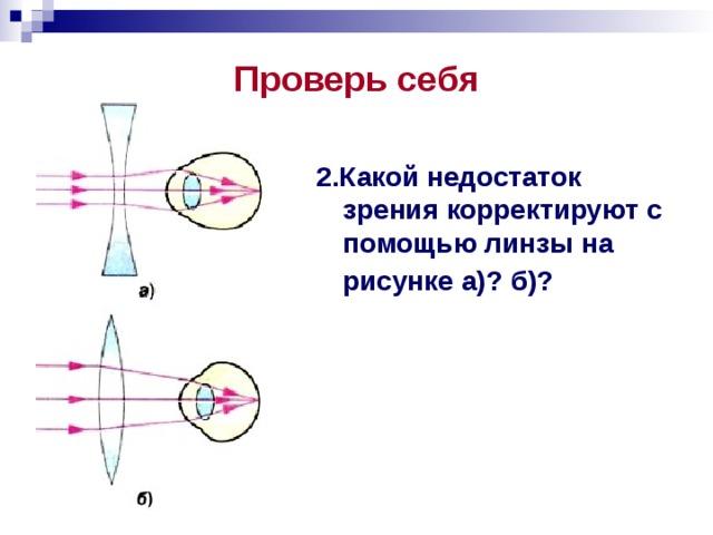 Проверь себя 2.Какой недостаток зрения корректируют с помощью линзы на рисунке а)? б)?