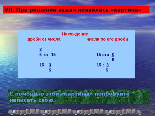 VII. При решении задач появилась «картина»  Нахождение  дроби от числа числа по его дроби   3   5 от 15 15 это 3   5  15 . 3 15 : 3  5 5  С помощью этой «картины» попробуйте написать свою.