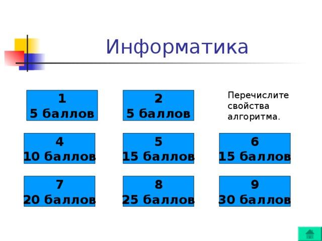 Перечислите свойства алгоритма. 1 5 баллов 2 5 баллов 4 10 баллов 5 15 баллов 6 15 баллов 7 20 баллов 8 25 баллов 9 30 баллов