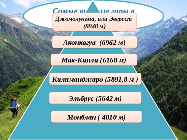 Самые высокие горыв мире   Джомолунгма, или Эверест (8848 м) Аконкагуа (6962 м ) Мак-Кинли (6168 м) . Килиманджаро(5891,8 м ) Эльбрус (5642 м) Монблан (4810 м)