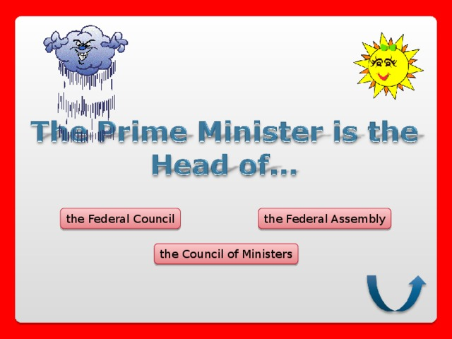 the Federal Council the Federal Assembly the Council of Ministers
