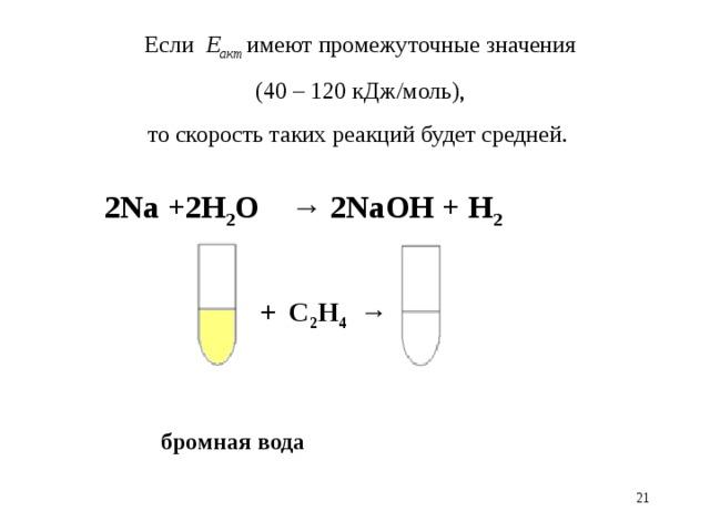 Если Е акт  имеют промежуточные значения  (40 – 120 кДж/моль),  то скорость таких реакций будет средней. 2Na + 2H 2 O → 2NaOH + H 2 + С 2 Н 4  → бромная вода 18