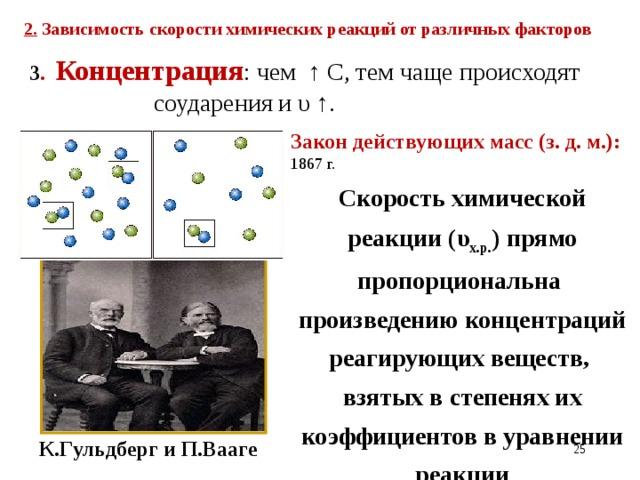 2. Зависимость скорости химических реакций от различных факторов  3 . Концентрация : чем ↑ С, тем чаще происходят соударения и υ ↑. Закон действующих масс (з. д. м.): 1867 г. Скорость химической реакции (υ х.р. ) прямо пропорциональна произведению концентраций реагирующих веществ, взятых в степенях их коэффициентов в уравнении реакции К.Гульдберг и П.Вааге 21