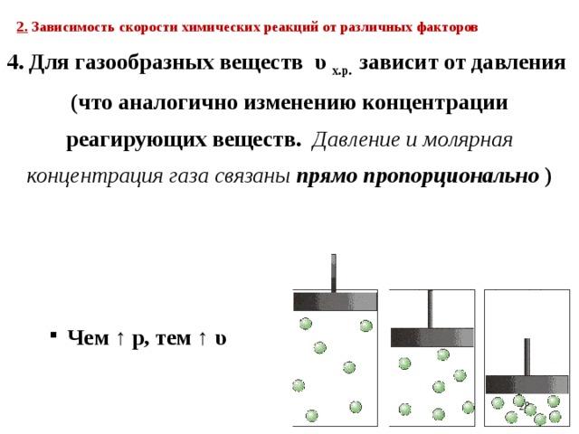 2. Зависимость скорости химических реакций от различных факторов  4. Для газообразных веществ υ х.р. зависит от давления (что аналогично изменению концентрации реагирующих веществ. Давление и молярная концентрация газа связаны прямо пропорционально )  Чем ↑ р, тем ↑ υ  21