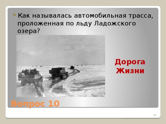 Как называлась автомобильная трасса, проложенная по льду Ладожского озера?