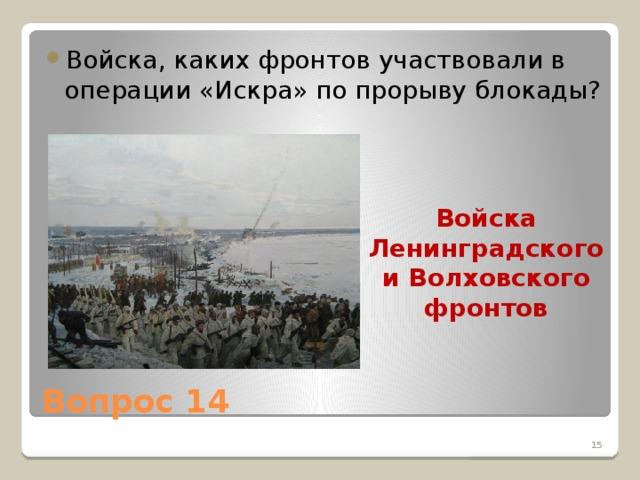 Войска, каких фронтов участвовали в операции «Искра» по прорыву блокады?