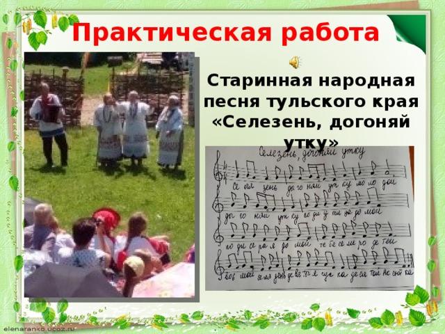 Практическая работа Старинная народная песня тульского края «Селезень, догоняй утку»