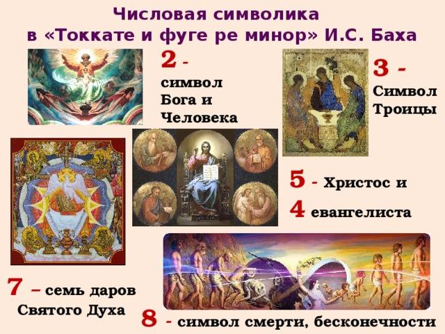 Числовая символика в «Токкате и фуге ре минор» И.С. Баха 2  - символ Бога и Человека 3 - Символ Троицы 5 - Христос и 4 евангелиста 7 – семь даров Святого Духа 8 - символ смерти, бесконечности