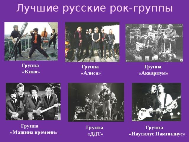 Лучшие русские рок-группы Группа «Кино» Группа Группа «Алиса» «Аквариум» Группа «Mашина времени» Группа Группа «ДДТ» «Наутилус Пампилиус»