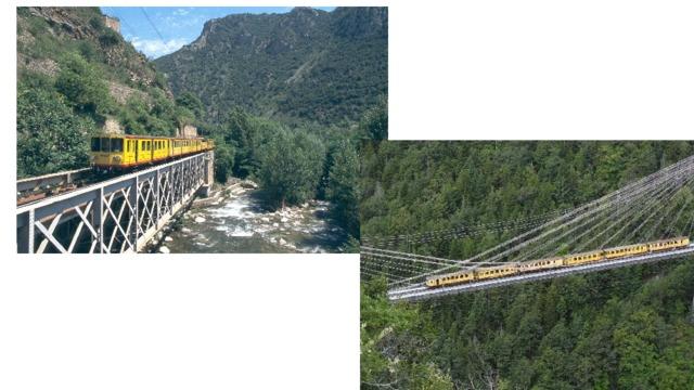 Железнодорожная линия, строительство которой началось в 1903 году, являет собой образец инженерного и строительного искусства. Представьте себе: множество небольших туннелей, мостов, малых виадуков. А также два впечатляющих виадука, протянувшихся над долиной. Один из них — Пон Жисклар (Pont Gisclard), или Пон де Кассань (Pont de Cassagne), который является единственным во Франции подвесным железнодорожным мостом.
