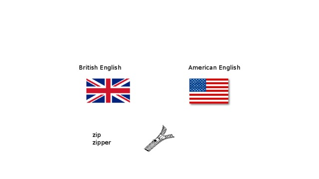 British English  American English zip   zipper