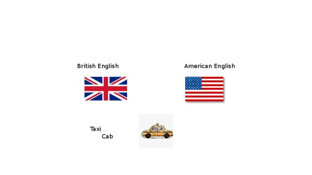 British English  American English Taxi   Cab