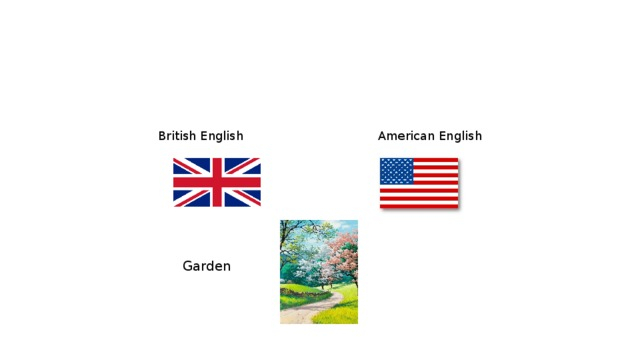 British English  American English Garden     Yard