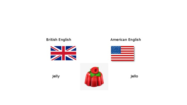 British English  American English Jelly   Jello
