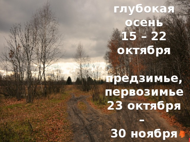 глубокая осень 15 – 22 октября  предзимье, первозимье 23 октября – 30 ноября