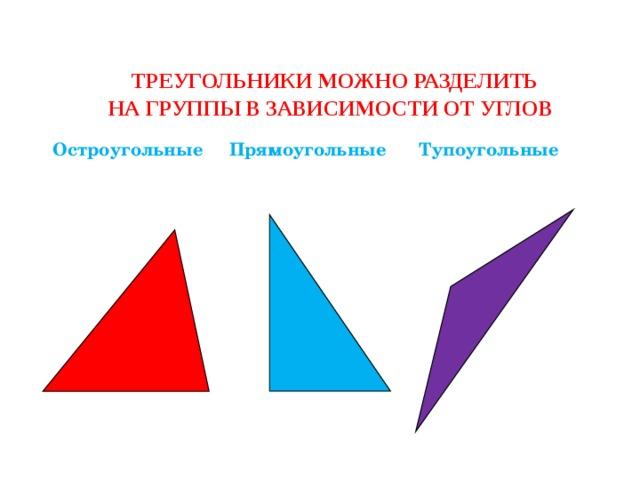 Треугольники можно разделить  на группы в зависимости от углов Остроугольные Прямоугольные Тупоугольные