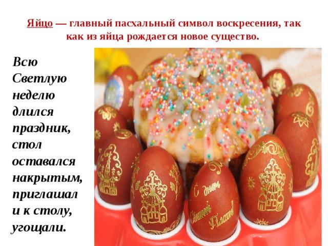 Яйцо — главный пасхальный символ воскресения, так как из яйца рождается новое существо. Всю Светлую неделю длился праздник, стол оставался накрытым, приглашали к столу, угощали.