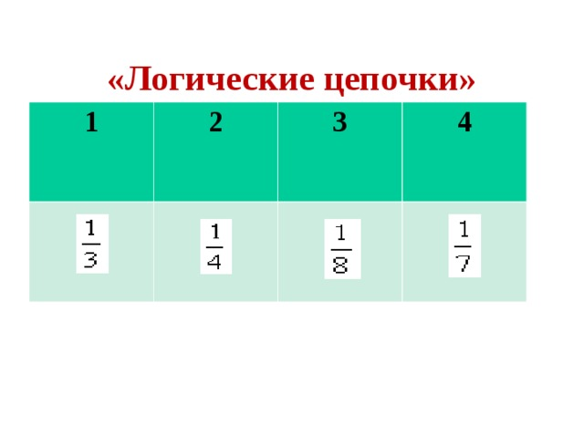 «Логические цепочки» 1 2 3 4