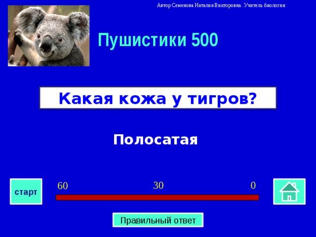 Автор Семенова Наталия Викторовна. Учитель биологии Пушистики 500 Какая кожа у тигров? Полосатая 0 30 60 старт Правильный ответ