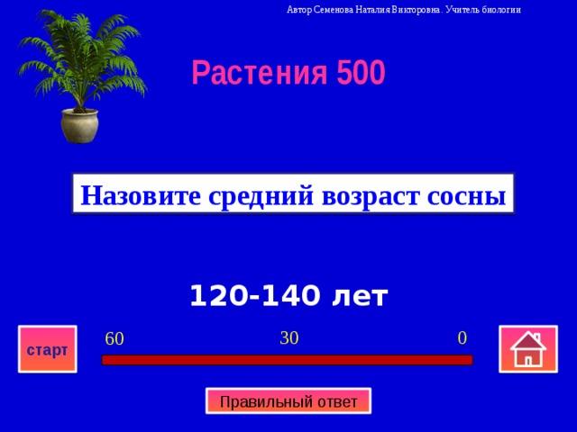 Автор Семенова Наталия Викторовна. Учитель биологии Растения 500 Назовите средний возраст сосны 120-140 лет 0 30 60 старт Правильный ответ