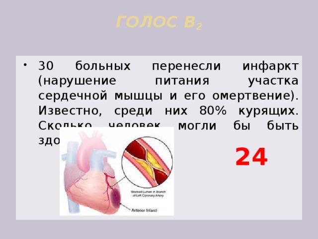 ГОЛОС В 2   30 больных перенесли инфаркт (нарушение питания участка сердечной мышцы и его омертвение). Известно, среди них 80% курящих. Сколько человек могли бы быть здоровыми? 24